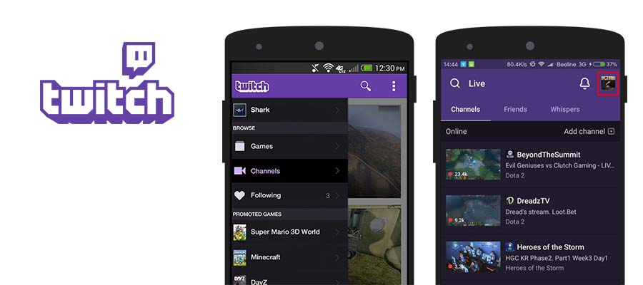 Twitch video streaming app