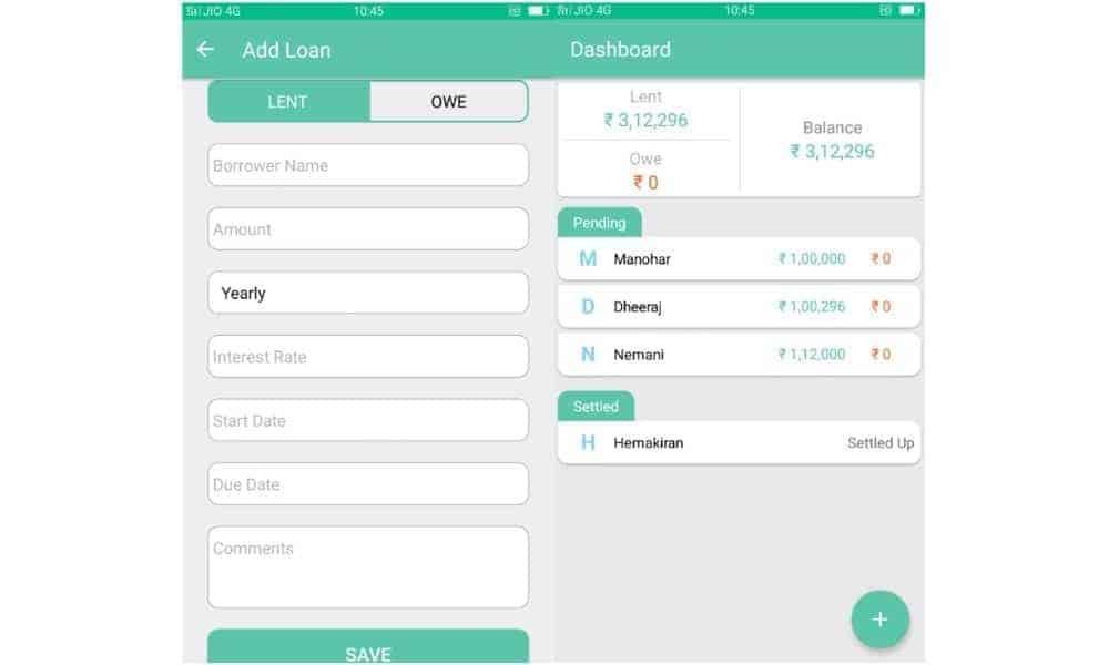 Loaned Money Tracking App