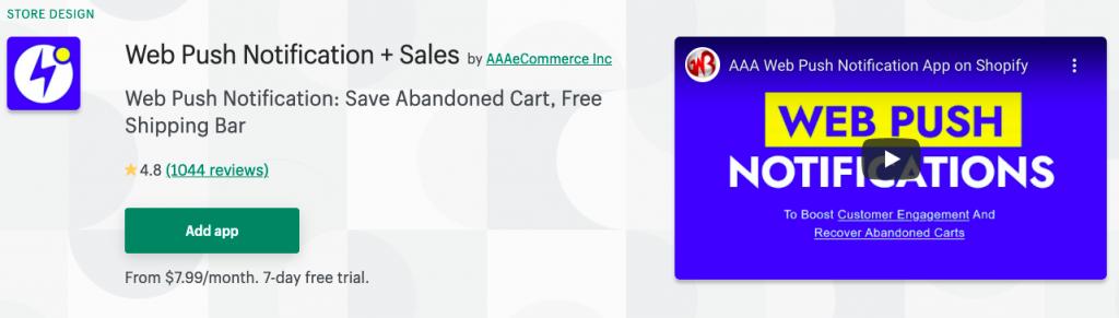Web Push Notification + Sales